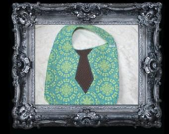 Baby Bib with Tie- Black Tie Affair: Baby Boy Bib. Green and Blue Tribal, Brown Polka Dot Tie
