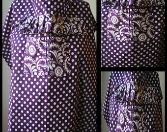 Nursing Cover- Purple Polka Dot, Ruffle, Two Center Pockets (designer nursing cover)