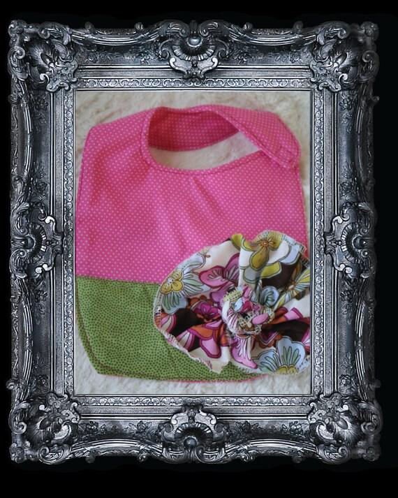 Chic Girl Bib-Black Tie Affair: Baby Girl Bib. Pink mini polka dots, green pattern bottom, Foral print flower