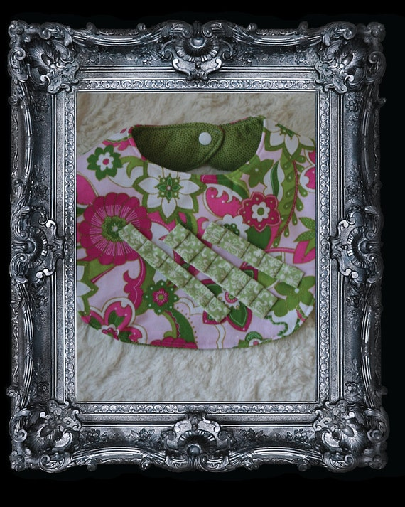Chic Baby Girl Bib- Black Tie Affair: Baby Girl Bib.Pink and Green Floral with Gold Details, Green Ruffle Trio