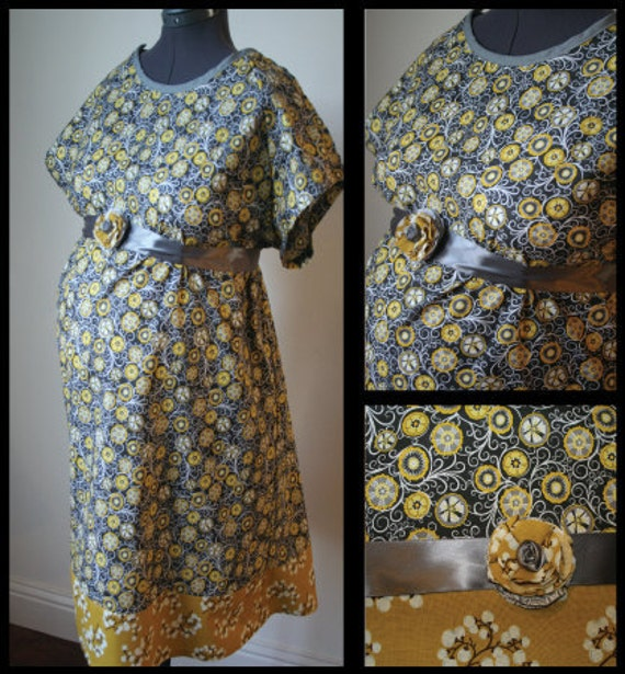 Labor and Delivery Hospital Gown -Gray, Yellow and White Circle Flowers, Yellow and White Mini Flower Band, Flower detail on Sash