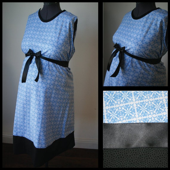 Maternity Hospital Gown - Blue and White  Flower Checks, Black Trim