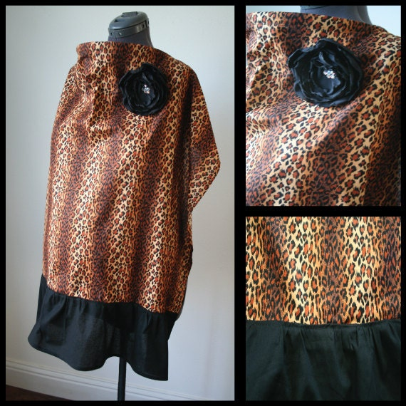 Nursing Cover-Cheetah Print with Black Ruffle, Removable Rhinestoned Flower Detail