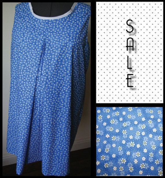 Nursing Gown- Blue with White Daisies Feeding Frock. ON SALE