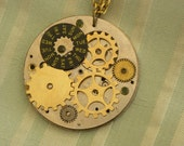 Pendant Steampunk Style with a Brass Necklace, Genuine Vintage Watch Parts and Gears set on a Vintage Watch Plate
