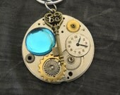 Pendant Steampunk Style with a Sterling Silver Chain, Genuine Vintage Watch Plate and Embellishments