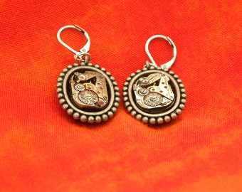 Earrings Steampunk Style with Vintage Wristwatches