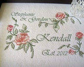 Personalized wedding gift serving tray, Romatic Roses design, names and established date, under glass.