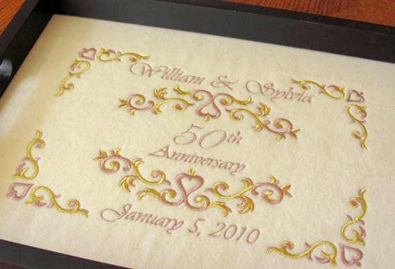 Th anniversary gift serving tray personalized golden