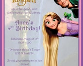 Personalized Tangled Rapunzel Birthday Invitation