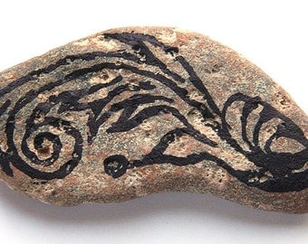 Meditation Stone. New Sprouting Fern Abstract Painted Life Creation in Black Ink. Midsize Rock. Nature Inspired. Healing Energy