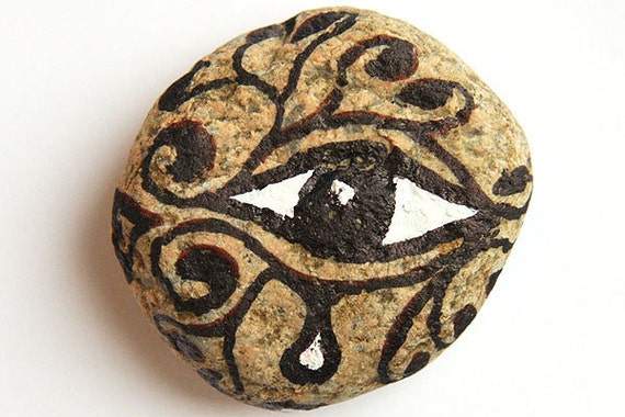 Office Decor, Home Decor, Paper Weight, Painted Eye in Black Ink and White Acrylic. Nature Inspired. Healing Energy