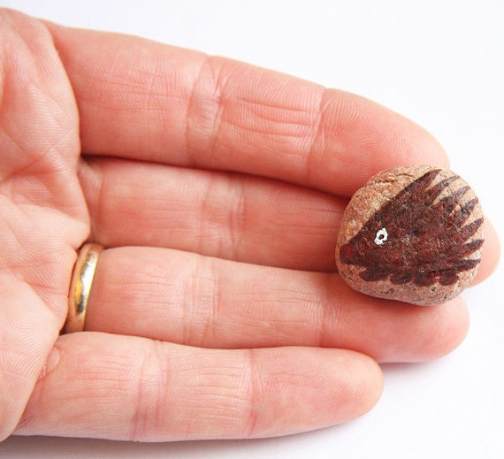 Small Hedgehog Tiny Painted Stone in Black and Brown Ink