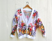 Oversized Bright Floral Cardigan Vintage 80's 90's