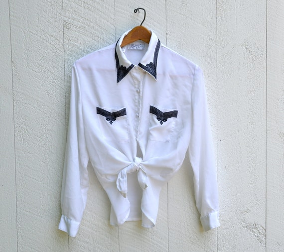 Semi-Sheer White Oversized Vintage Tribal Embroidered Collar Tips Blouse 80s