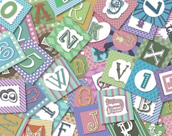 "Digital Alphabet 1.5"" squares for craft-instant download"