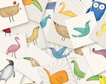DIGITAL Bird 2 inch squares for craft, jewelry, card making scrapbooking, badges, buttons