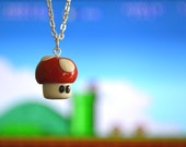 Red Power Up Mushroom Polymer Clay Necklace from Super Mario Brothers Nintendo