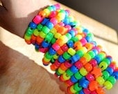 Set of 14 Rainbow Brite Fluorescent Pony Bead Bracelets with Stars