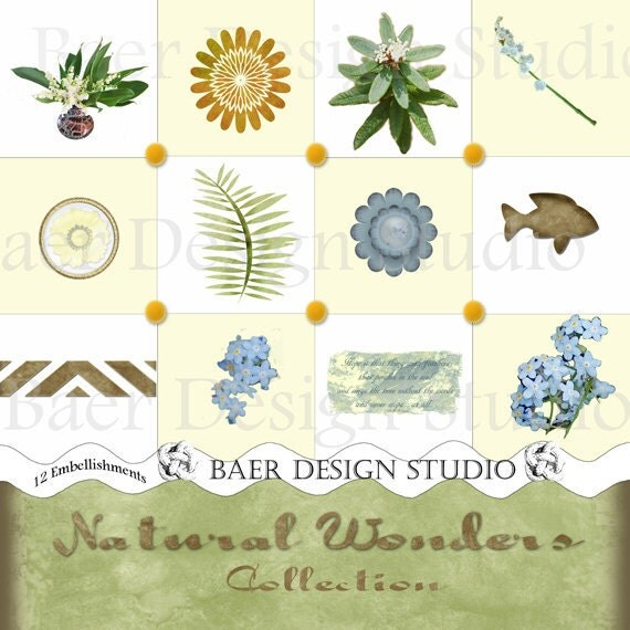 Digital Scrapbooking Embellishments with Lily of the Valley, Fish, Forget me nots in blue, green, distressed tan
