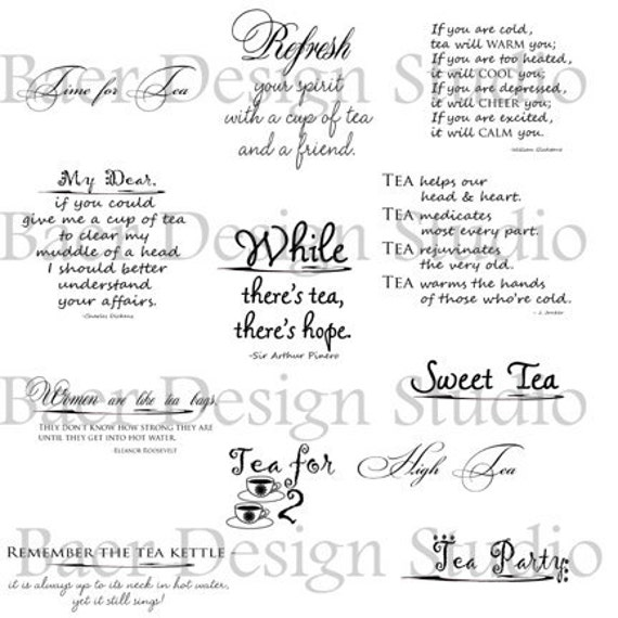 Tea Quotes, Tea Word Art, Tea Party png Quotes, Digital Stamp Images, Inspiration Quote Printable, Tea Party Clip Art Overlay, #16102