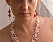 "Bead necklace ""White Coral"" Free shipping"