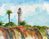 dollhouse art, aceo, Point Vicente, lighthouse, Palos Verdes, California, ON THE BLUFFS, pacific ocean, Los Angeles, giclee