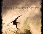 surf photo vintage style on block 4x4
