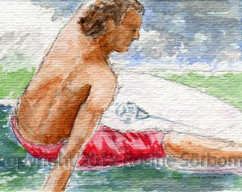 aceo, surfer, Ripping, giclee, wave