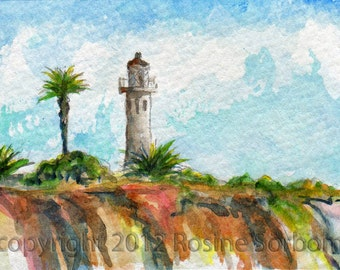 dollhouse art, aceo, Point Vicente, lighthouse, Palos Verdes, California, ON THE BLUFFS, pacific ocean, Los Angeles, giclee 70303
