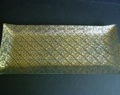 Signed Georges Briard Large Glass Serving Tray - Iberia Pattern - 22k Gold Pressed Glass Platter