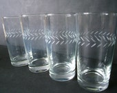 Vintage Set of 4 Etched Drinking Glasses - Midcentury Glassware - Really Keen Glasses