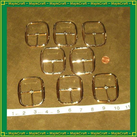 12 LARGE nickle-plated brass buckles, single talon, shiny silver color, one dozen