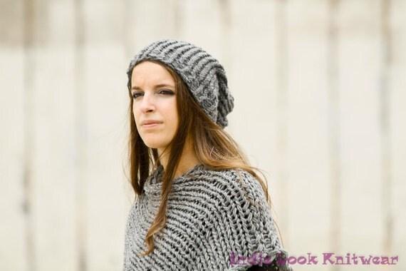 Slouchy Hat Chunky Knit Grey