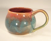 Ceramic Mug/Chili Bowl: Magenta Dark Pink and Turquoise