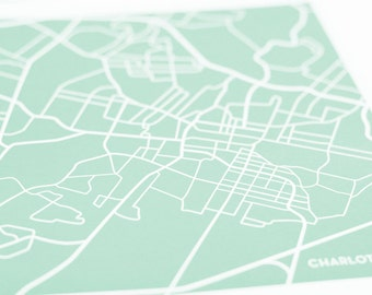 Charlottesville City Map Art Print / UVA University Wall Art Poster / 8x10 / Choose your color