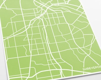Shreveport City Map Art Print / Bossier Louisiana Modern Line Art / 8x10 Digital Print / Choose your color