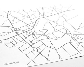 Marrakesh City Map Print / Marrakech Morocco Map Poster Wall Art / 8x10 Digital Print / Choose your color