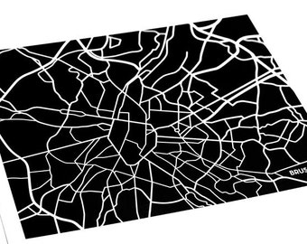 Brussels City Print / Belgium Map Poster Abstract Line Art / 8x10 Digital Print / Choose your colors
