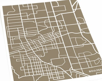 Boulder Map Art City Print / University of Colorado Grad Gift Wall Poster / 8x10 / Personalized colors