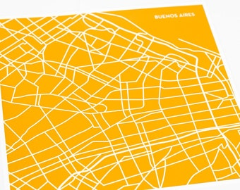 Buenos Aires City Print Wall Art / Argentina Map Modern Art Street Map / 8x10 Poster / Choose your color