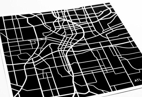 Atlanta City Map Wall Decor / Georgia Tech Art Print Grad Gift / 8x10 Digital Print / Personalized colors
