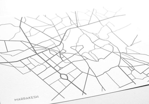 Marrakesh City Map Print / Marrakech Morocco Map Poster Wall Art / 8x10 Digital Print / Choose your color