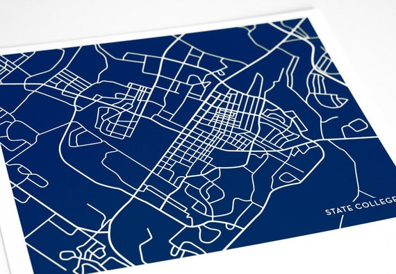 State College Map Art City Print Grad Gift / Penn State University Park / 8x10 Digital Print / Custom colors available