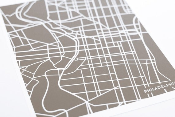 Philadelphia City Map Art Print / Pennsylvania Line Art Map Poster / Digital Print 8x10 / Any Color