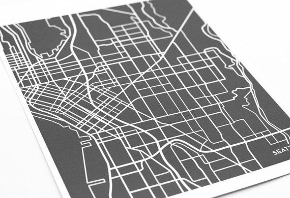 Seattle Map Art City Print / Washington Poster Custom Grad Gift University Art / 8x10 Digital Print / Choose your color