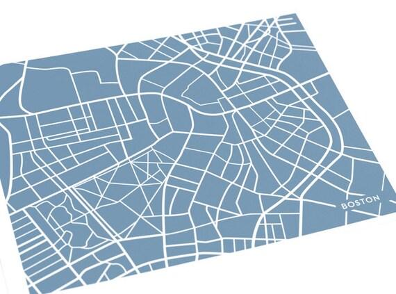 Boston Map Art City Print / Massachusetts Custom Wall Art / 8x10 / Available in any color