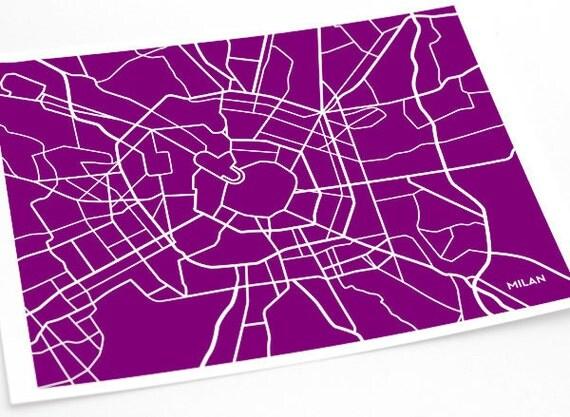 Milan City Art Map Print / Italy Poster Custom Wall Decor Graphic Illustration / 8x10 Digital Print  / Choose your color