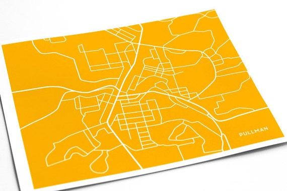 Pullman, WA Map Art Dorm Decor / Washington State University Grad Gift / 8x10 Digital Print / Choose your color