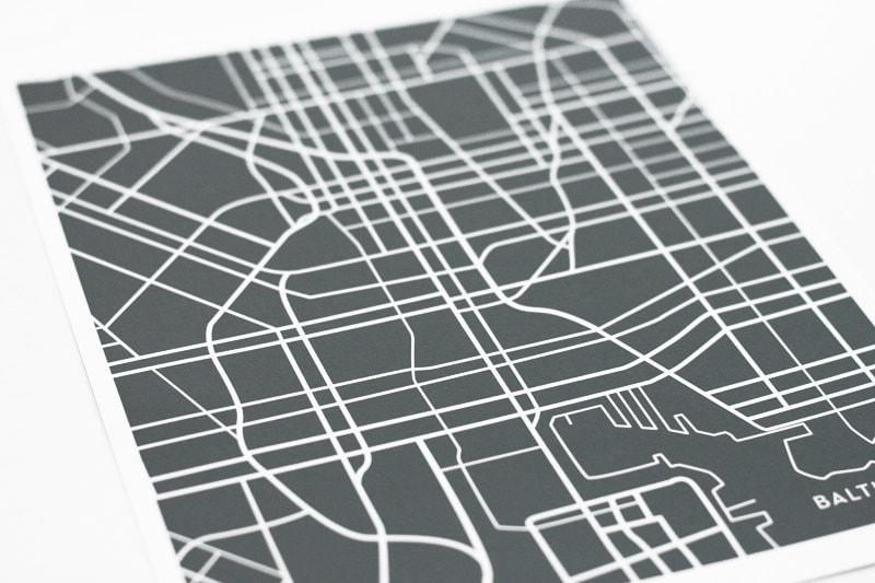 Baltimore City Street Map Art / Custom Map Digital Print